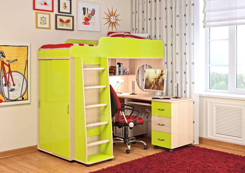 Кровать чердак сказка 5 венге светлый/лайм+письменный стол -.